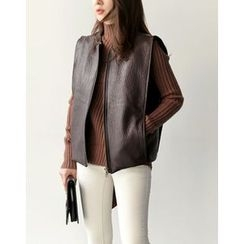 UPTOWNHOLIC - Zip-Up Faux-Leather Vest