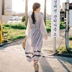 Aegean - Printed Long Sleeve Chiffon Dress