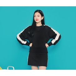 HOTPING - Set: Round-Neck Contrast-Trim Top + Band-Waist Skirt