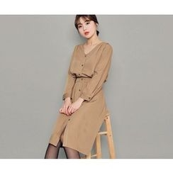 HOTPING - V-Neck Gathered-Waist Shirtdress