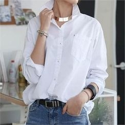 CHICFOX - Dip-Back Long Cotton Shirt