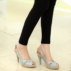 59th Street - Open-Toe Patent Slingback Espadrille Pumps