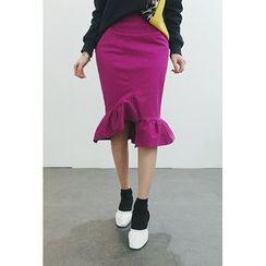 ATTYSTORY - Ruffle-Hem Pencil Skirt