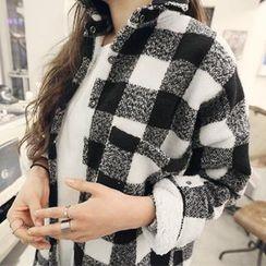 NANING9 - Fleeced-Line Check Long Shirt