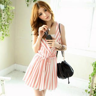 Tokyo Fashion - Oversized Lapel Striped Sleeveless Dress