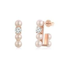 MBLife.com - Left Right Accessory - 925 Silver Plated in Red Color Freshwater White Pearl CZ Earrings, Women Jewellery