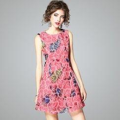 欧依潮派 - 无袖刺绣连衣裙
