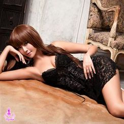 Ayoka - Set: Lace Embroidered Teddy + String +Thongs