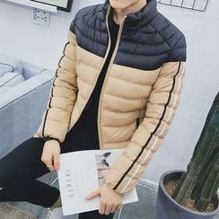Danjieshi - Two-Tone Stand Collar Padded Jacket