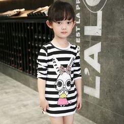 Merry Go Round - Kids Rabbit Print Striped Long T-Shirt