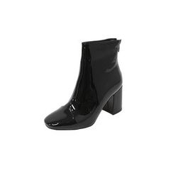 DABAGIRL - Block-Heel Patent Ankle Boots