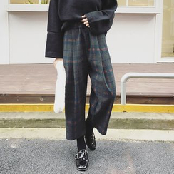 EKOOL - Plaid Wide-Leg Cropped Pants