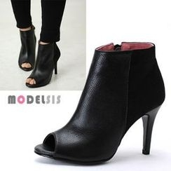 MODELSIS - Genuine Leather Open-Toe Ankle Boots