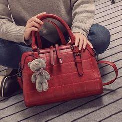 兔貝貝 - 仿皮搭扣手提包