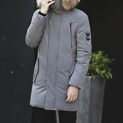 Danjieshi - Furry Trim Hooded Down Jacket