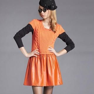 Moonbasa - Short-Sleeve Faux-Leather Panel Knit Dress