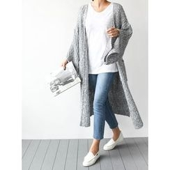 STYLEBYYAM - Slit Detail Wide-Sleeve Open-Front Long Cardigan