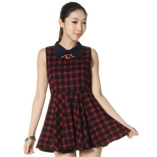 59 Seconds - Contrast Collar Plaid Dress