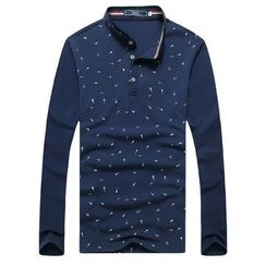 Harvin - Printed Stand Collar Long-Sleeve Polo Shirt