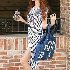 REDOPIN - Striped Slit-Side Dress
