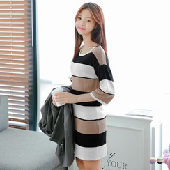 OrangeBear - Color Block Shift Sweater Dress