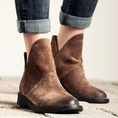 MIAOLV - Genuine Leather V-neck Short Boots