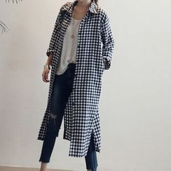 NANING9 - Gingham Check Long Shirtdress