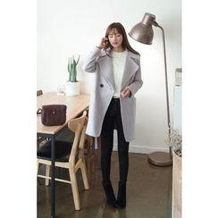 CHERRYKOKO - Double-Breasted Wool Blend Coat