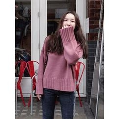 maybe-baby - V-Neck Bell-Sleeve Knit Top