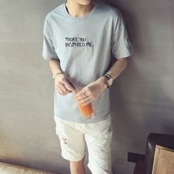 Dixon - Letter Embroidered Short Sleeve T-Shirt