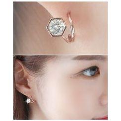 Miss21 Korea - Rhinestone Hexagon Earrings