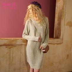 ELF SACK - Slit-Side Plain Ribbed Knit Dress