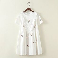 ninna nanna - Short-Sleeve Frilled Trim Embroidered Dress