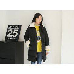 Envy Look - Faux-Fur Zip Thick Padded Coat