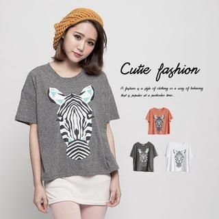 CUTIE FASHION - Short-Sleeve Zebra Print T-Shirt