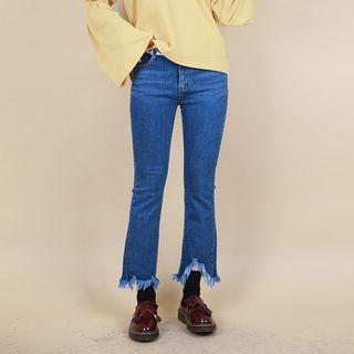 Vintage Vender - Frayed-Hem Boot-Cut Jeans