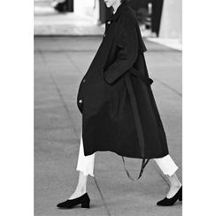 ssongbyssong - Flap-Front Trench Coat With Sash