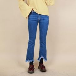Vintage Vender - Frayed-Hem Boot-Cut Jeans