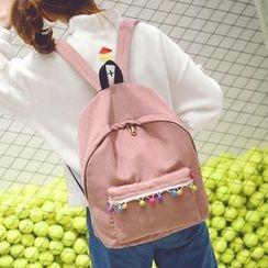 Youme - 球球装饰灯芯绒背包