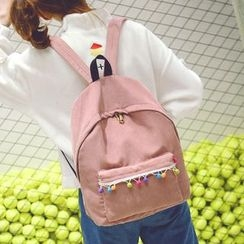 Youme - Pompom Corduroy Backpack