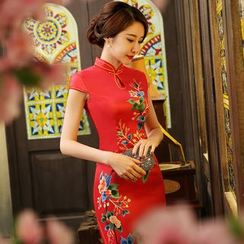Janelle Qipao - Floral Cap Sleeve Qipao