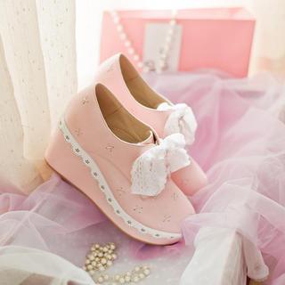 JY Shoes - Lace-Up Platform Wedges
