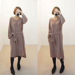STYLEBYYAM - Wool Blend Tie-Waist Dress