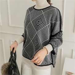 JOAMOM - Patterned Piped Knit Top