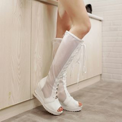 Pretty in Boots - Platform Wedge Peep Toe Tall Boots