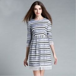 Cherry Dress - Elbow-Sleeve Striped Dress