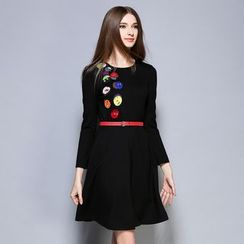 Cherry Dress - Long-Sleeve Tie Waist Dress