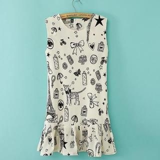 JVL - Sleeveless Ruffled Hem Printed Dress