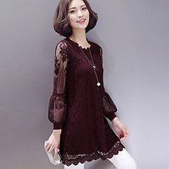 lilygirl - Lace Panel Crochet Long-Sleeve Dress