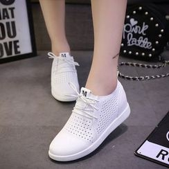Wello - Perforated Hidden Wedge Sneakers